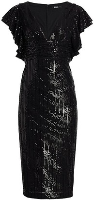 Badgley Mischka Sequin Flutter Sleeve Sheath Dress