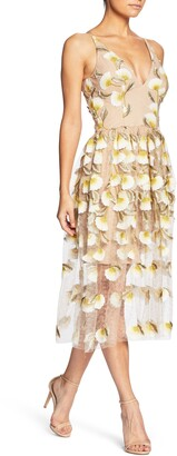 Dress the Population Betsy Plunging Lace Midi Dress