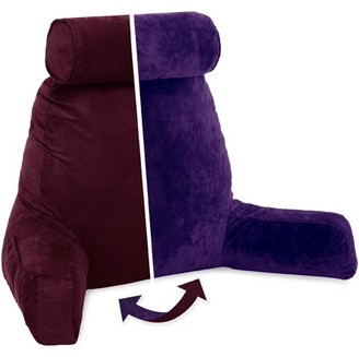 Husband Pillow Husband Pillow, Aspen Edition - Reading and Bed Rest Pillow with Arms - Neck Roll on Bungee Cord or Removable - Premium Memory Foam -Reversible Two-Sided Cover Microsuede or Microfiber, Arizona Maroon