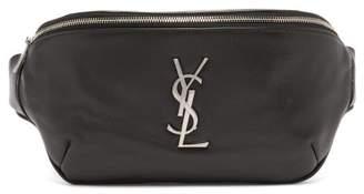 Saint Laurent Logo Plaque Leather Belt Bag - Mens - Black