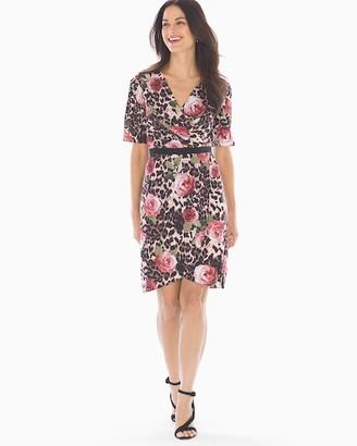Soma Intimates Adrianna Papell Faux Wrap Dress Animal Multi