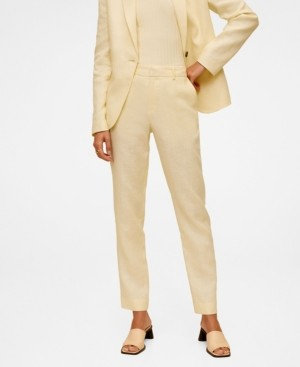 MANGO Women's Linen-Blend Pants