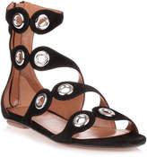 Alaia Black suede eyelet sandal