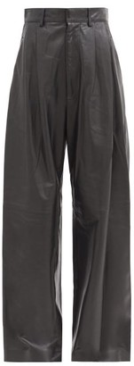 Dodo Bar Or Momo Leather Wide-leg Trousers - Black