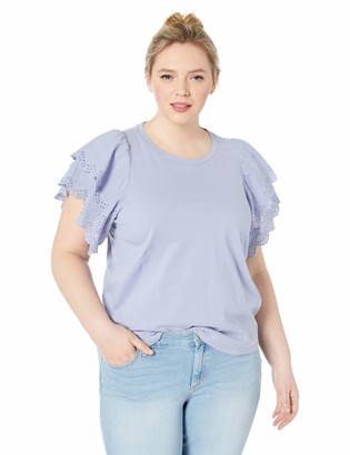 Jessica Simpson Women's Rina Lace Detailed Short Sleeve Top