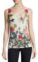 Neiman Marcus Superfine Wildflower-Print Cashmere Tank