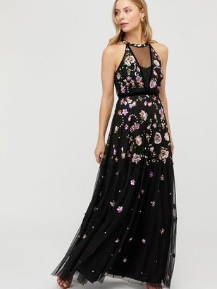 Monsoon Cara Floral Embellished Maxi Dress - Black