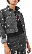 Topshop Women's Moto Embellished Crop Denim Jacket