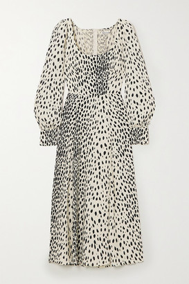 Reformation Alessi Cheetah-print Crepe Midi Dress - Off-white