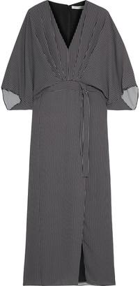 Halston Cape-back Pleated Striped Crepe De Chine Maxi Dress