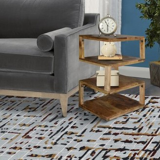 Loon Peak Schuetz Solid Wood Floor Shelf End Table with Storage