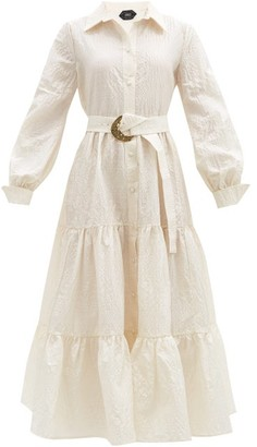 Taller Marmo Capri Belted Textured Silk-blend Shirt Dress - White
