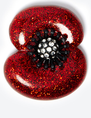 Marks and Spencer The Poppy Collection Glitter Poppy Brooch