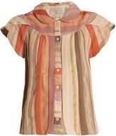 Ace&Jig Monet ruffle-sleeved striped cotton-blend top