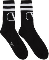 Valentino Black and Grey Garavani VLogo Socks