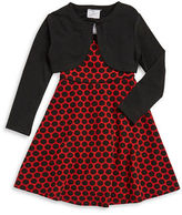 Iris & Ivy Girls 2-6x Polka Dot Dress and Cardigan Set