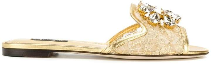 Dolce & Gabbana lace slippers with crystal embellishments