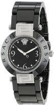 Versace Women's 92QCS9D008 SC09 Reve Ceramic 3H Round Stainless Steel Black Ceramic Bracelet Watch