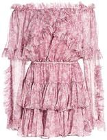 Caroline Constas Dahlia Ruffle Off-the-Shoulder Silk Dress