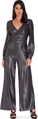 Adrianna Papell Gunmetal Metallic Jersey Jumpsuit