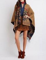 Charlotte Russe Aztec Fringed Poncho Cardigan