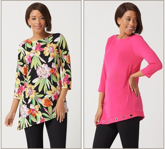 Susan Graver Set of 2 Liquid Knit Asymmetrical Hem Tunics