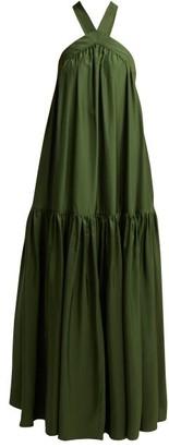 Three Graces London Dollie Cross-back Silk Maxi Dress - Womens - Dark Green