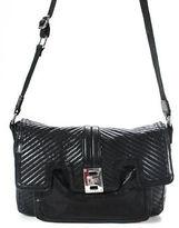 L.A.M.B. Black Leather Small Adjustable Flap Messenger Handbag