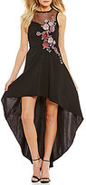 Xtraordinary Rose-Embroidered High-Low Dress