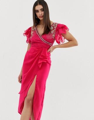 Virgos Lounge embellished wrap front ruffle sleeve midi dress in pink