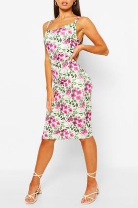 boohoo Floral Print Strappy Midi Slip Dress