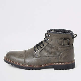 River Island Dark grey buckle side lace-up wide fit boots