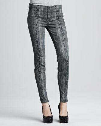 J Brand Jeans 801 Woodgrain Printed Skinny Jeans