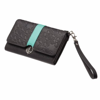 Black & Turquoise English Leather Clutch Bag, Travel Wallet
