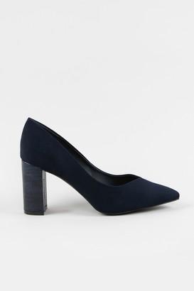 Wallis **WIDE FIT Navy Block Heel Court Shoe
