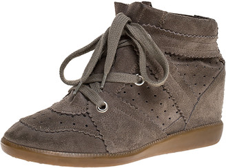 Isabel Marant Grey Suede Leather Bobby Wedge Lace Up Sneakers Size 38