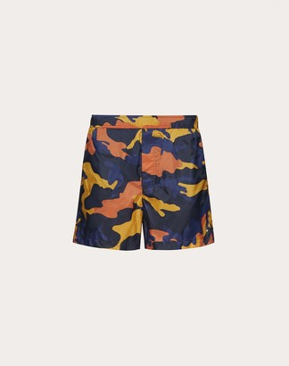 Valentino Camouflage Bathing Suit Man Navy Camo/orange Polyamide 100% 44