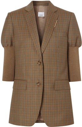 Burberry Knitted Sleeve Houndstooth Check Tailored Jacket