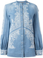 Ermanno Scervino embroidered billow sleeve top - women - Cotton/Linen/Flax - 46