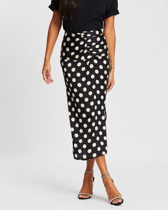 Missguided Polka Dot Ruched Waist Midi Skirt