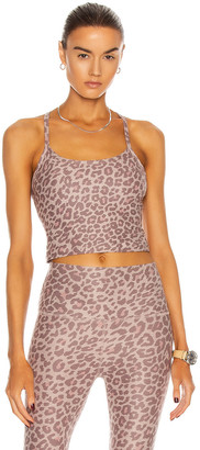 Beyond Yoga Spacedye Printed Slim Racerback Cropped Tank in Chai Cocoa Brown Leopard | FWRD