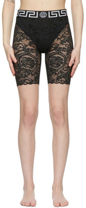 Versace Underwear Black Lace Greca Border Shorts