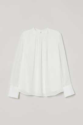 H&M Pleat-front Blouse - White