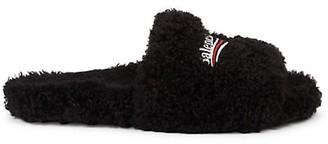 Balenciaga Furry Faux Fur Slides