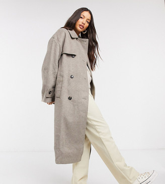 Asos Tall ASOS DESIGN Tall brushed twill trench coat in gray