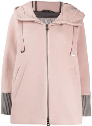 Herno Drawstring Hood Zipped Coat