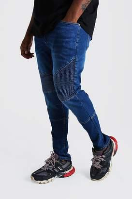 BoohoomanBoohooMAN Mens Blue Big & Tall Skinny Fit Biker Jean, Blue