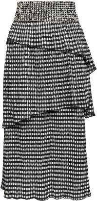 Rosie Assoulin Tiered Gingham Woven Midi Skirt