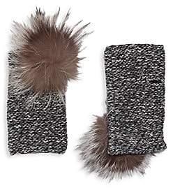 Portolano Women's Fox Fur Pom-Pom Cashmere Arm Warmers