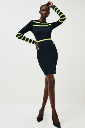 Karen Millen Nautical Sheer Stripe Knit Dress